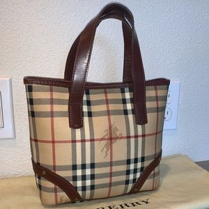 Authentic Burberry haymarket mini shopper tote bag